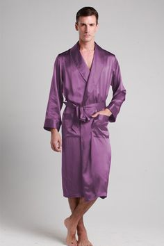 22 Momme Lapel Collar Long Silk Robe Relax and unwind in this luxurious men  silk robes 739e71b06