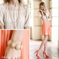 Check out Peachy Keen Look by Lost April, Comme Toi & Diva Lounge at DailyLook