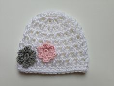 Baby Girl Hat Crochet Baby Hat Twin Girl by bellebabyboutique