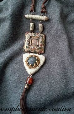Polymer clay vertical necklace.
