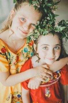 Flower girl flower crowns, love the dresses too