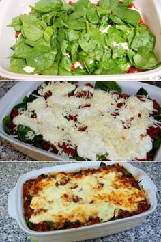 Skøn lasagne, der lige har fået et nøk op ad sundhedsbarometret med hytteost i stedet for den traditionelle bechamel og grøn spinat.