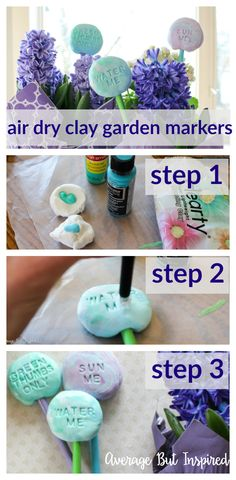 Use lightweight air dry clay to create adorable DIY air dry clay garden markers. Use paint to achieve a marbled air dry clay look and add some spunk to your garden or flower pots this season!
