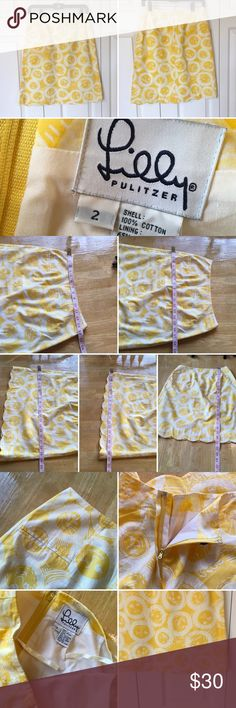 Lilly Pulitzer's yellow lion print lined skirt Lilly Pulitzer's yellow lion print lined skirt.  Very good used condition. Get ready for summer or spring break. Back zipper and eye hook closure. Fully lined. One side pocket. Smoke and pet free. Measurements included. Tiny pindot size spot as pictured. Maybe cleanable. Lilly Pulitzer Skirts Mini