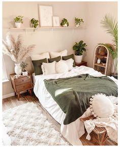 Room Ideas Bedroom, Bedroom Wall, Master Bedroom, Bedroom Inspo, Diy Bedroom, Bedroom Green, Earthy Bedroom, Bedroom Designs, Natural Bedroom