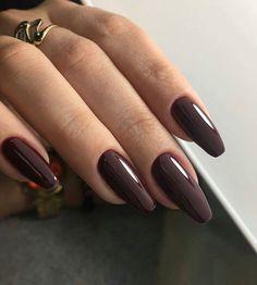 That Will Make You Acrylic Nails Short Almond Matte Grey 74 - Ongles 02 Cute Nails, Pretty Nails, My Nails, Cute Nail Colors, Winter Nail Designs, Nail Art Designs, Dark Nail Designs, Brown Nails, Dark Nails