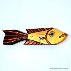 Reclaimed Wood Fish Decor on Painted Barnwood Gold by TaylorArts