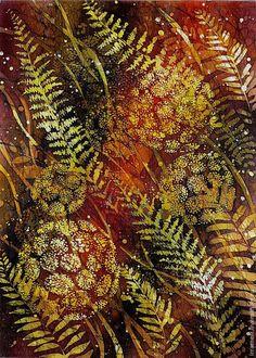"""Купить """"осенние травы"""" - коричневый, батик в раме, цветы, осенние травы, горячий батик"""