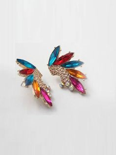 #Multi #Gemstone #Wing #Stud #Earrings