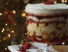 English Trifle - about as close as I think I'll come to my grandfather's recipe; he used raspberries and raspberry jam (and wonderful Bird's Custard) with 'soaked' sponge cake.  He was generous with the sherry.  ~ JM