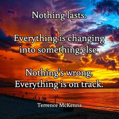 Nothing lasts.   Everything is changing  into something else.   Nothing's wrong.  Everything is on track. / Terrence McKenna