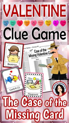 Valentines's Day Mystery, this fun Clue Game is sure to be a hit in your classroom. Use this mystery activity during your Holiday Party or as a fun Friday afternoon treat. This game features items that represent Valentine's Day. Students use the detective skills of listening and the process of elimination to solve the mystery of the Missing Valentine Card. Perfect whole class game, let the fun begin.