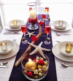 Long driftwood branch as a Holiday table centerpiece, Placed on runner. 8 Festive Decorating Ideas.