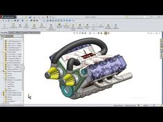 SolidWorks Tutorial Car Engine Advanced Assembly - YouTube