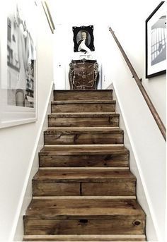 Inspiration to go white GORGEOUS reclaimed barn wood stairs.I love the look of stark white agains a knotted, brown wood in a distressed nature. Post on all different ways to use reclaimed barn wood or recycled wood in your home decor. Style At Home, Staircase Design, Wood Staircase, Staircase Ideas, Stair Idea, Wood Railing, Staircase Remodel, Hardwood Stairs, Stair Design