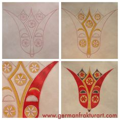The development of a Fraktur - step by step, by Cara Thompson Barthels www.germanfrakturart.com