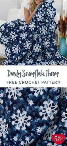Dusty Snowflake Throw free crochet pattern in Red Heart Super Saver. This gorgeous crochet throw is a veritable winter wonderland, making it a natural when decorating your home for the winter season. Stitch in Red Heart Super Saver using rich colors to complete a wonderful snowflake pattern. Try it as shown, or use a different blend of shades on this magical throw. It's a textured beauty that brings welcoming warmth to any space. Easy Knitting Patterns, Crochet Blanket Patterns, Crochet Afghans, Crochet Blankets, Crochet Stitches, Crochet Snowflakes, Snowflake Pattern, Super Saver, Scarf Design