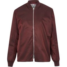 Acne Studios Burgundy Fuel Tech Polytech Bomber Jacket (730 CAD) ❤ liked on Polyvore featuring outerwear, jackets, nylon jacket, bomber style jacket, double zipper jacket, long sleeve jacket and bomber jacket
