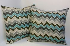 18 inch Pillow pair, zigzag chevron pillow covers, grey, brown, teal blue throw pillow, home decor