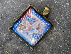 """Pen and Ink Patriotic Pendant-""""Our Country Pride""""  - Antique Brass Finish"""