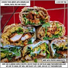 Looking for an amazing, quick, low-syn idea? Make these grilled chicken tikka wraps with caramelised onions! Perfect Slimming World lunch! Slimming World Lunch Ideas, Slimming World Recipes Syn Free, Chapati, Paninis, Quesadillas, Burritos, Enchiladas, Slimming World Chicken Tikka, Whole Food Recipes