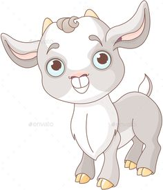 Buy Baby Goat by Dazdraperma on GraphicRiver. Illustration of very cute goat. Goat Cartoon, Baby Cartoon, Cartoon Coloring Pages, Coloring Books, Goat Logo, Baby Animals, Cute Animals, Emo, Goat Art