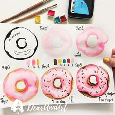 Bullet Journal Doodles 30 Easy Tutorials is part of drawings - How to draw easy and amazing bullet journal doodles! how to doodle tutorials including flower doodles, animal doodles and much more! Watercolor Food, Watercolor Drawing, Watercolor Illustration, Painting & Drawing, Simple Watercolor, Watercolor Trees, Watercolor Animals, Watercolor Background, Watercolor Landscape