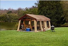 Large 10 Person Family Cabin Tent w/Front Porch, Room Div...