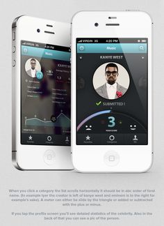 Faded faces on either side - the audio and journal could do this.     PPLrated - iOS Application by Zahir Ramos, via Behance