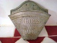 Porte filtre à café en métal couleur zinc, déco cuisine rétro