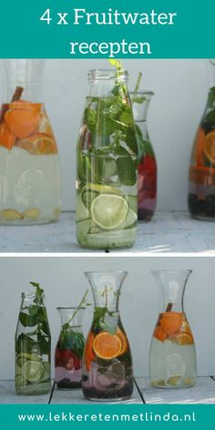 4 x fruit water recipes - Good food with Linda - fruit water recipes. Combine vegetables, fruit and herbs and easily make some sort of lemonade y - Healthy Juices, Healthy Drinks, Healthy Snacks, Healthy Recipes, Fruit Drinks, Detox Drinks, Watermelon Infused Water, Keto Smoothie Recipes, Low Carb Drinks