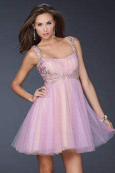 2013 Short A Line Gold Pink Embellished Prom Dress... | StyleCaster