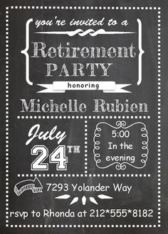 chalk board teacher retirement Invitations