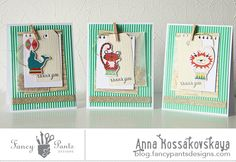 Fancy Pants Designs Studio-by Anna--oh look at these custom Thank You cards with little circus characters from our Everyday Circus collection...adorable!!