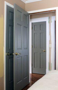 Light paint colors interior door paint colors grey interior doors paint ideas for best painting on Interior Door Colors, Grey Interior Doors, Painted Interior Doors, Grey Doors, Painted Doors, Interior Paint, Home Interior Design, Black Doors, Painted Bedroom Doors