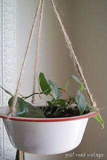 Enamelware turned hanging planter