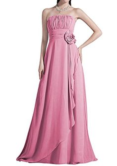 Yougao Yougao Strapless Bridesmaid Chiffon Prom Dresses Long Evening Gowns US 6 Blush * Check this awesome product by going to the link at the image. (Note:Amazon affiliate link)