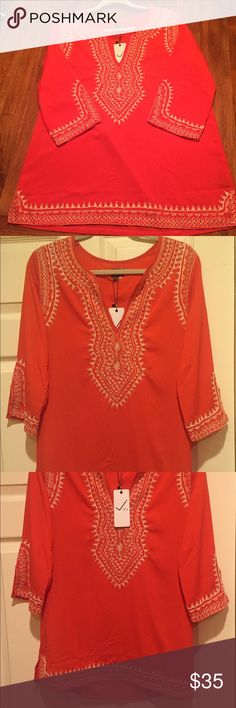 Embroidered tunic-style top Beautifully embroidered tunic-style top.  Size Large. Brand new, never been worn! Very J Tops Tunics