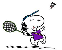 Snoopy Practicing his Badminton Forehand