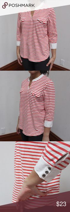 J. Crew striped shirt Orange and white striped shirt with hook and eye chest closure with button closure at sleeve end. 3/4 sleeve. High quality shirt and very lightly used!  (Photo is of my sister | not taken from any website) J. Crew Tops Tees - Long Sleeve