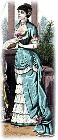 The Victorian Dinner Gown of satin is trimmed with lace. The body is cut square in front and buttoned behind. It has three points in front, which fall over a draped and slightly puffed sash. The train is cut in one with the body, and draped at the sides with flowers. The underskirt is made with a pointed drapery, opening in front on five lace flounces. This 1882 dress requires 15 yards of satin; 4 yards of wide lace; 6 yards of narrow lace; and 6 bunches of flowers.