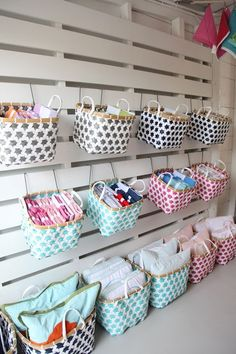 Serena & Lily Beach Store - similar slat wall in craft room for hanging storage Hanging Storage, Wall Storage, Hanging Baskets, Hanging Shelves, Laundry Storage, Garage Storage, Floating Shelves, Craft Show Displays, Store Displays
