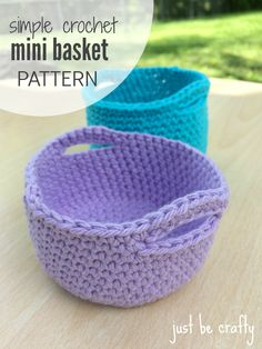 Crochet Simple Mini Basket – Free Pattern From Chunky Free Crochet Basket Patterns For Storage Crochet Unique, Crochet Simple, Crochet Diy, Crochet Home, Crochet Gifts, Double Crochet, Single Crochet, Crochet Ideas To Sell, Crochet Basket Pattern