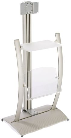 """TV Stand for Monitors 23"""" to 30"""", Literature Pocket & Display Shelf, Curved - Silver $409  -- Computer City Check in Station"""