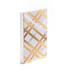 Poppin Metallic Criss-Cross Medium Hardbound Journal   Gold, Silver, Copper   Desk Accessories   Cool Office Supplies #workhappy