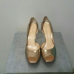 """Jessica Simpson """"Josette"""" Heels Very comfortable Champagne colored heels. They are in perfect condition and only with once. Leatherette Material. ??Offers are always welcome?? Jessica Simpson Shoes Heels"""