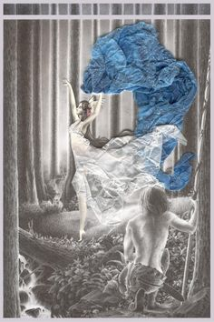 Luthien Dancing by Bmosig.deviantart.com on @DeviantArt. An illustration of the encounter between Beren and Lúthien in the forest of Doriath. Lúthien's clothes are made with albanene paper.