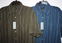 NEW Men's Size L Van Heusen 100% Polyester Short Sleeve Button Down Stripped Casual Shirts Free US Shipping