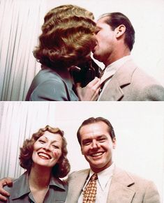 "Faye Dunaway and Jack Nicholson having fun on the set of ""Chinatown"""