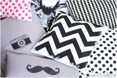 Pastill.nu: Create your own chevron pattern with fabric painting and tape.